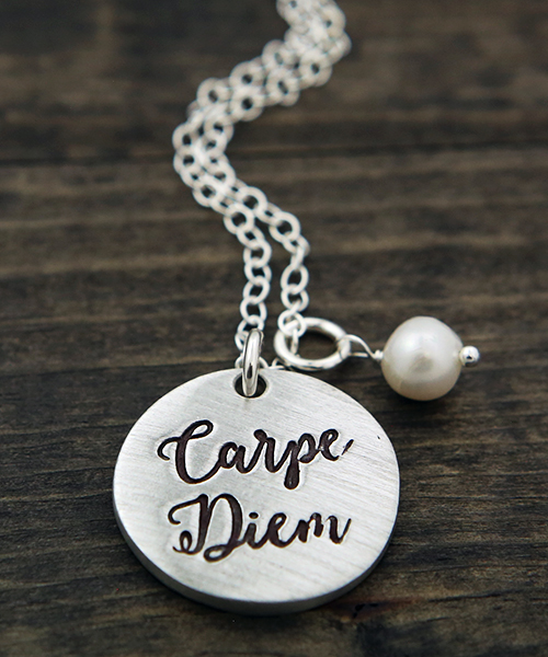 a new inspirational necklace hand stamped with a carpe diem charm that is a great gift and ready-to-ship