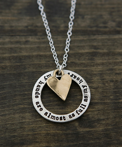 a new inspirational necklace for mom handstamped with my hands are almost as full as my heart