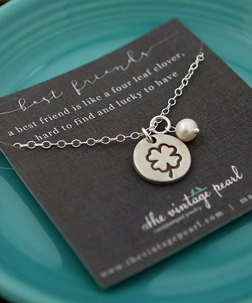 4 leaf clover charm with silver chain and pearl