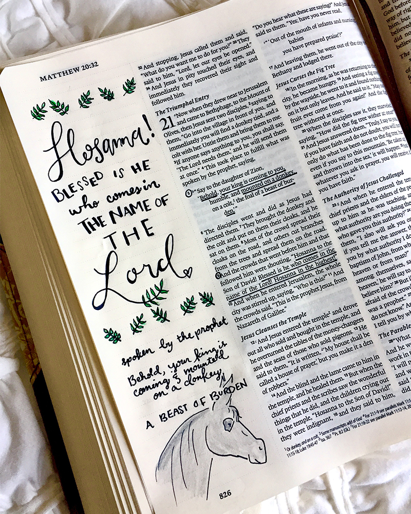 bible journaling+ palm sunday