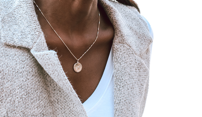 Model wearing personalized necklace