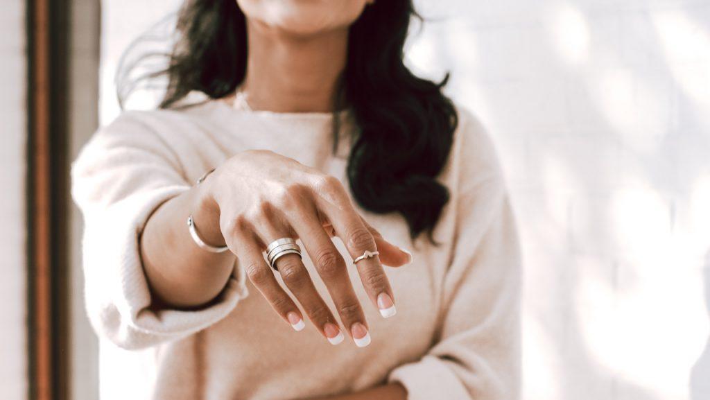 Model wearing Personalized rings