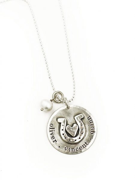 Hand-molded horseshoe and heart on a sterling disc. Personalize the necklace with hand stamped names. Perfect gift for mom
