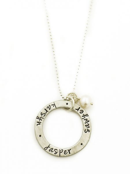 Personalized necklace with a chunky charm, hand stamped with names. Perfect gift for mom, wife, grandma