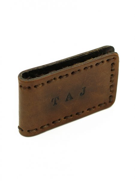 Hand stamped, hand stained, hand stitched leather magnetic money clips. Great gift for dad, brother, grandpa