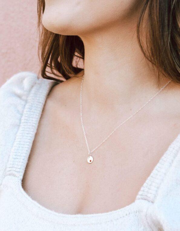 Dainty Birthstone Disc Necklace