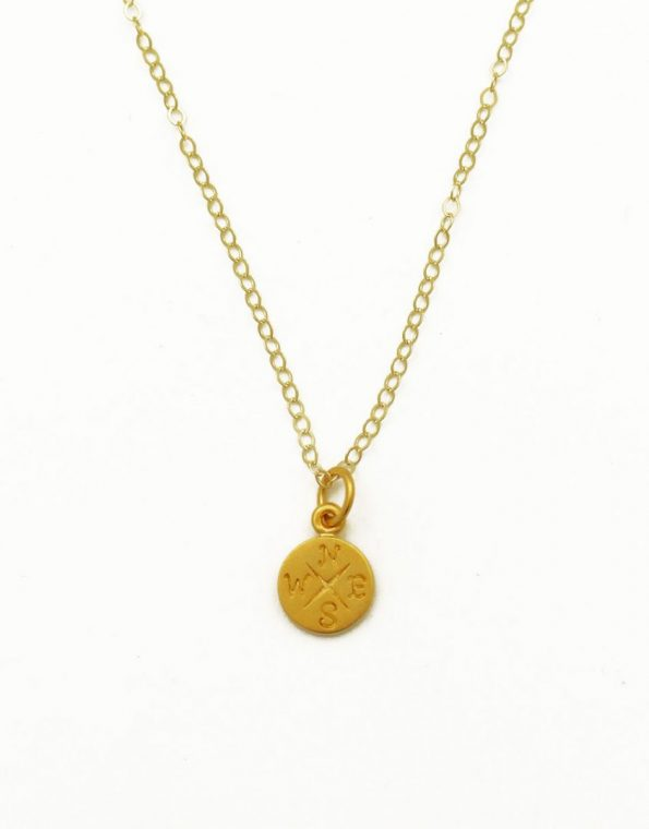 Dinty grad compass necklace, a fun piece to connect graduates with their future. Perfect as a graduation gift or for your kids.