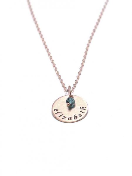 Personalize this rose gold dainty circle necklace with Swarovski birthstone crystal and name engraved on it