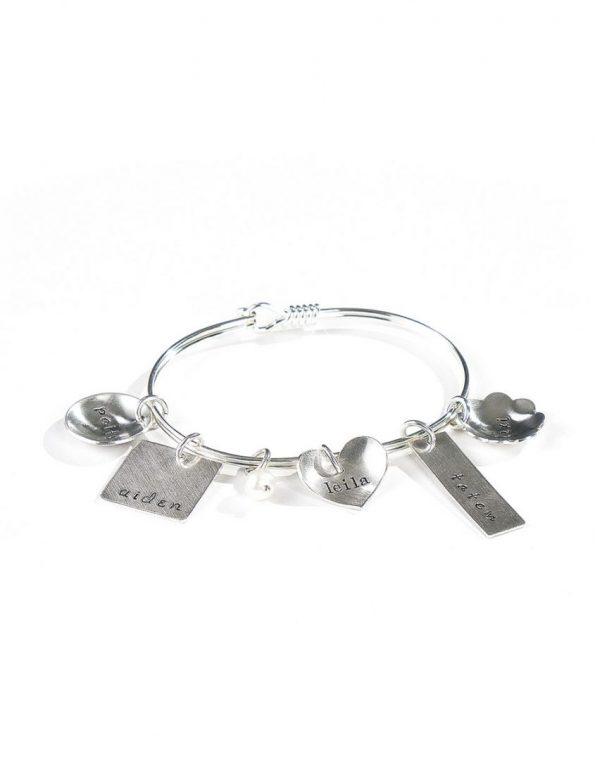 Eclectic Bangle Silver Charm Bracelet