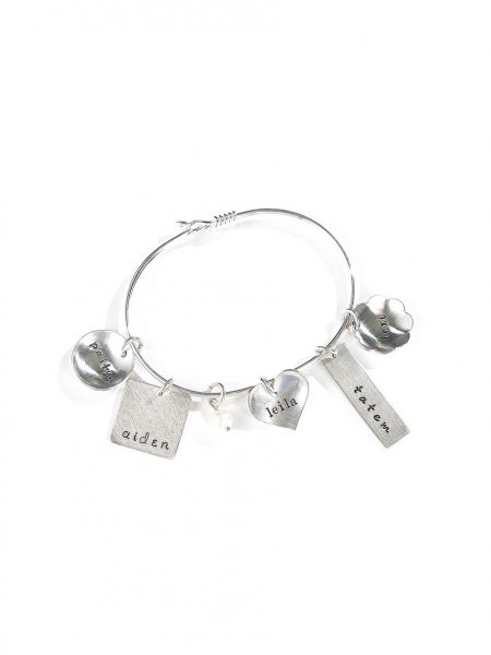 Eclectic bangle silver charm bracelet. Add-in your choice of charms with names engraved on it.