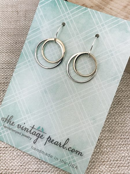 Forever timeless sterling silver and gold filled circles danglers. Best gift for your mother, sister, best friend