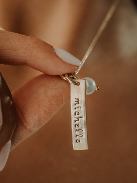 Beautiful gold-filled charm hand stamped with your custom names. Perfect gift for wife, mom, grandma, sister