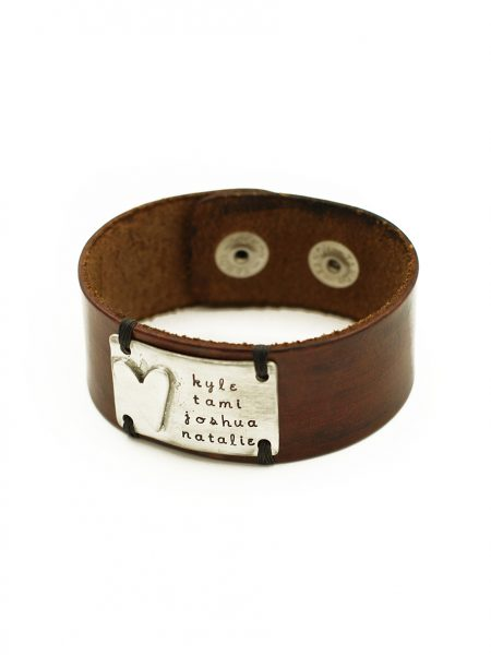Beautiful chunky charm handmade in fine pewter on brown leather cuffs. Great gift for dad, brother, husband
