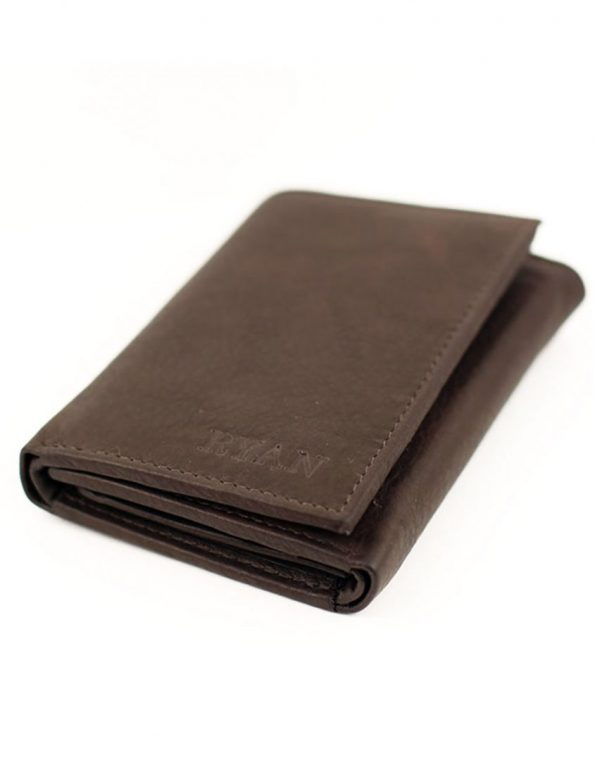 A trifold leather wallet with the name engraved on it. Perfect gift for father, brother, or husband