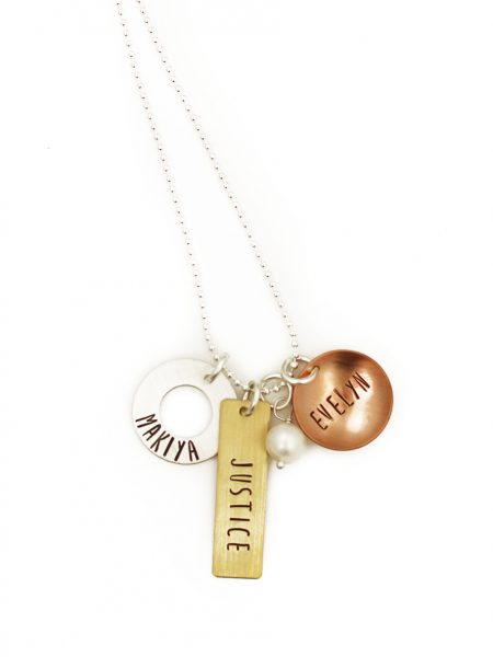Create a beautiful mixed metals charm necklace with names engraved on them. Perfect gift for a mom or grandma