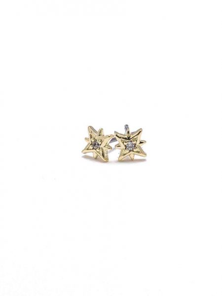 Golden starburst stud earrings are made in 16K gold plated brass and are nickel free. Your go-to earrings for every party