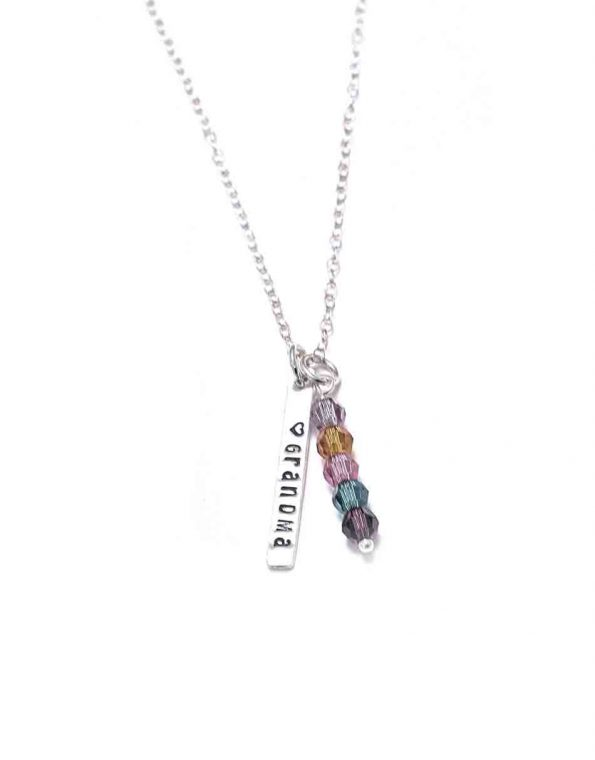 Birthstone personalized rectangle necklace with name or date engraved. Perfect gift for grandmas, moms, or even a family