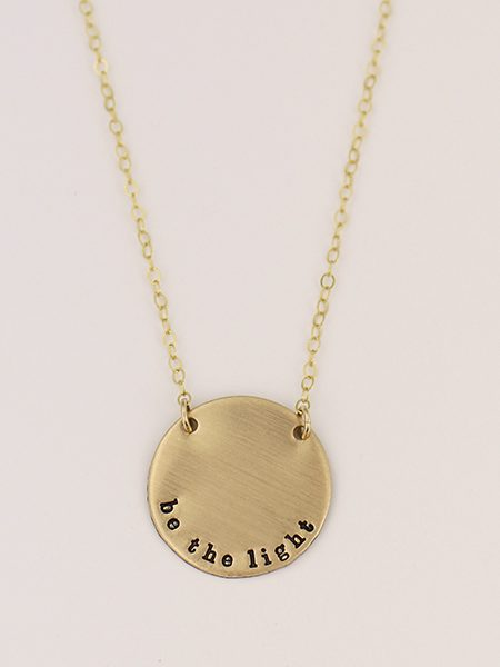 Simple Golden Custom Disc Necklace. Make it special by adding special words, name or even a date. Perfect for friends, family