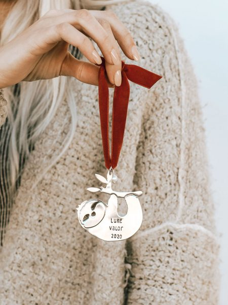 Speedy sloth ornament is made in fine pewter. Customize it with name, date or message. Perfect gift for kids, new moms.