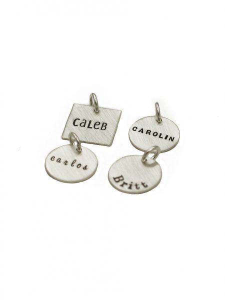 Name engraved on a dainty sterling silver circle or a square charm to add to the existing collection. Perfect gift for new mom, grandma