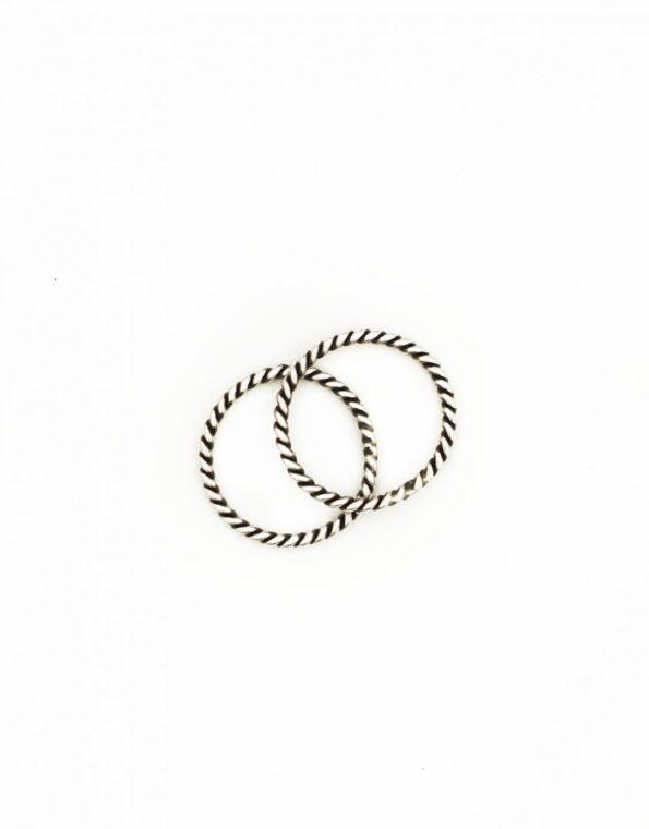 Sterling Rope Rings Set